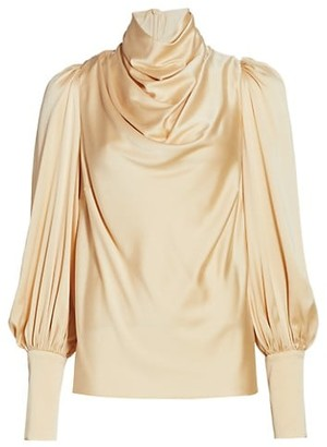 Zimmermann Silk Blend Cowlneck Blouse