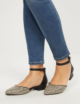 Lane Bryant Two-Piece Ankle-Strap Flat - Houndstooth