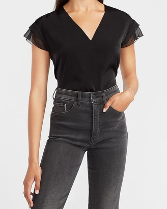 Express Satin V-Neck Flutter Sleeve Top