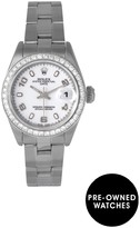 Rolex Pre-Owned Datejust Aftermarket Diamond Bezel & White Arabic Numeral Dial Stainless Steel Ladies Watch Ref 69174