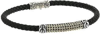 John Hardy Classic Chain Jawan Bracelet On 4mm Black Woven Leather (18K Gold/Silver) Bracelet