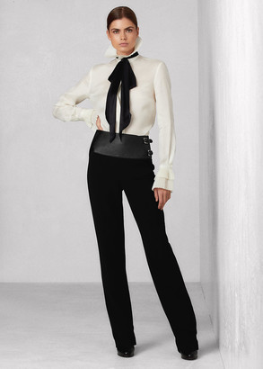 Ralph Lauren Joana Stretch Wool Lambskin-Belt Pant