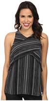 Vince Camuto Short Sleeve Linear Stripe Crossed Layered Blouse