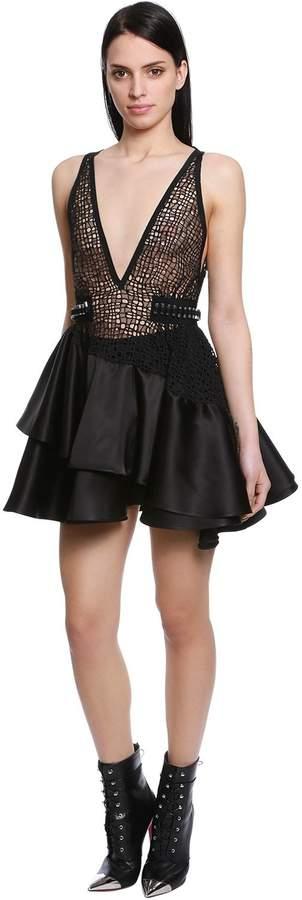 David Koma Ruffled Macramé & Satin Mini Dress