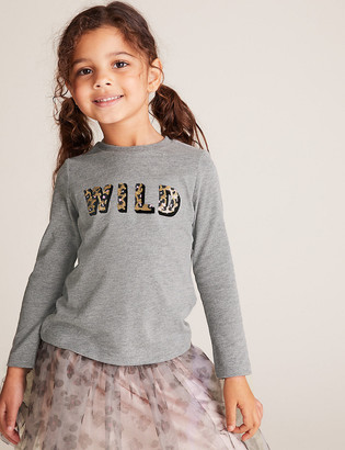 Marks and Spencer Cotton Wild Slogan Sequin Top (2-7 Yrs)