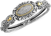 Effy Balissima by Diamond Vintage-Look Bangle Bracelet (1/5 ct. t.w.) in Sterling Silver and 18k Gold