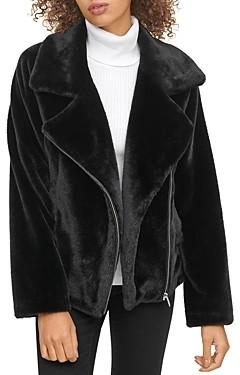 DKNY Faux Fur Moto Jacket