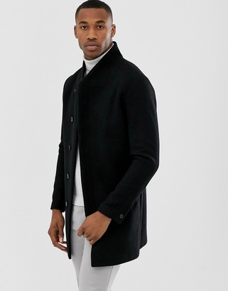 Jack and Jones wool stand up collar coat in black