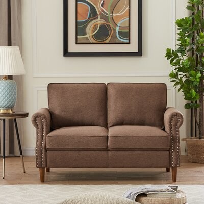 """Thumbnail for your product : Winston Porter Ailee 55.9"""" Linen Square Arm Loveseat Fabric: Brown Linen"""