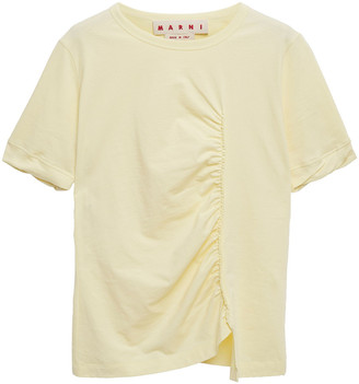 Marni Ruched Cotton-jersey T-shirt