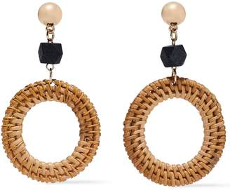 Kenneth Jay Lane Gold-tone, Wood And Rattan Earrings