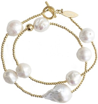 Farra Double Wrapped Natural Baroque Pearls Bracelet