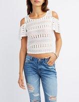 Charlotte Russe Crochet Lace Cold Shoulder Top