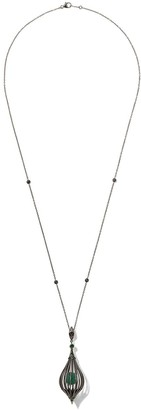 Fairfax & Roberts Lantern emerald and tsavorite pendant necklace