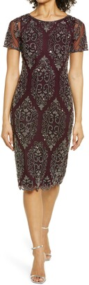Pisarro Nights Beaded Cocktail Midi Dress