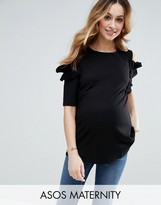 Asos Top With Ruffle Cold Shoulder In Ponte