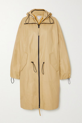 Bottega Veneta Hooded Leather Trench Coat - Beige
