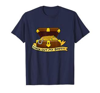 Jamrock Kawaii Puns Apparel Check Out My Booty Cheeky Treasure Chest Emoji Pun T-Shirt