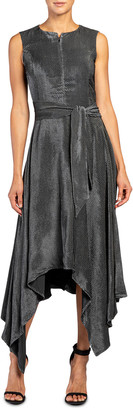Santorelli Natasha Zip-Front Silk Blend Handkerchief Dress