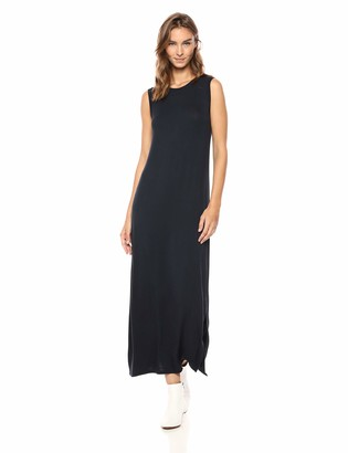 Daily Ritual Amazon Brand Women's Jersey Crewneck Muscle Sleeve Maxi Dress with Side Slit