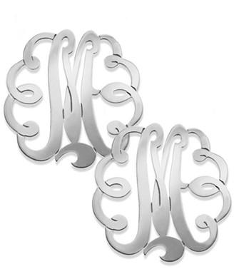Jane Basch Silver Swirly Script Initial Studs (A-Z)