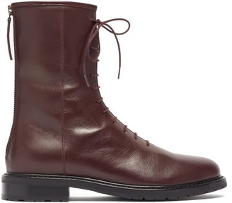 LEGRES Leather Combat Boots - Burgundy