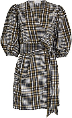 Ganni Checked Mini Wrap Dress