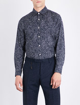 Canali Floral-print regular-fit cotton shirt
