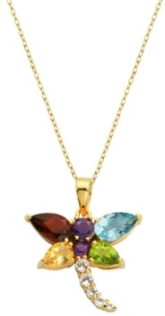 PRIME ART & JEWEL Multi-Gemstone (2-3/4 ct. t.w.) Dragonfly Pendant in 18k Yellow Gold over Sterling Silver