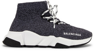 Balenciaga Speed Lace Up Knit Sneakers in Black & White | FWRD