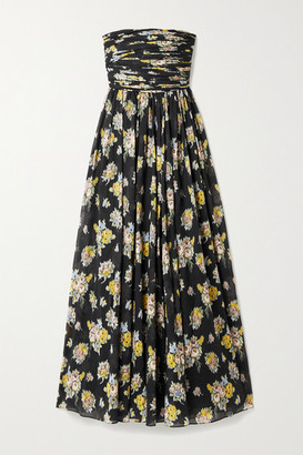 Brock Collection Strapless Ruched Floral-print Cotton-voile Maxi Dress - Black