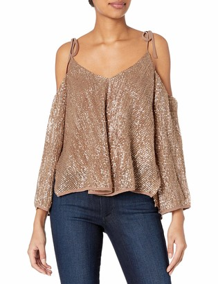 ASTR the Label Women's Adison Sparkly Cold Shoulder Top