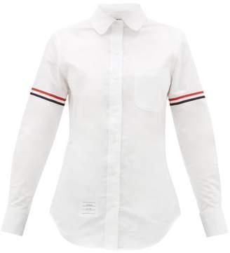 Thom Browne Stripe-applique Cotton-oxford Shirt - Womens - White