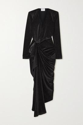 Redemption Asymmetric Draped Glittered Velvet Dress - Black