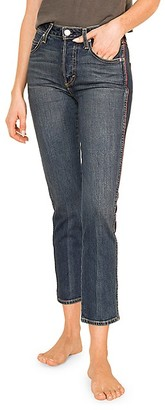Amo Babe Side-Piping Cropped Slim Straight Jeans