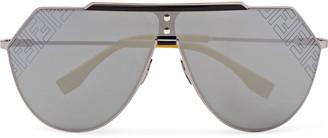 Fendi D-Frame Logo-Print Silver-Tone Mirrored Sunglasses