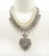Belle Badgley Mischka Rhinestone & Pearl Pendant Statement Necklace