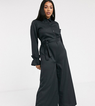 Verona Curve wide leg jumpsuit with belted waist in black