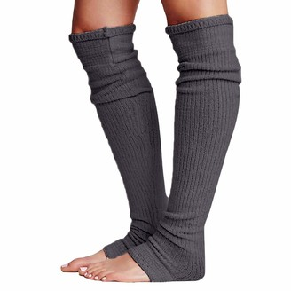 Yileegoo Women Comfortable Ankle Leg Warmers Different Colours Soft (Grey 67cm/26.4inch)