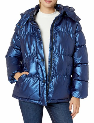 Urban Republic Women's Juniors Patent Leather Puffer Jacket