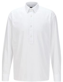 HUGO BOSS Relaxed Fit Shirt In Italian Cotton With Polo Collar - White