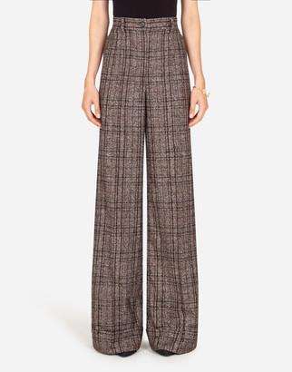Dolce & Gabbana Flared Pants In Checked Tartan