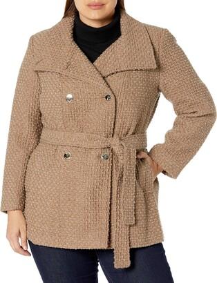 Calvin Klein Womens Plus Sized Double Breated Wool Coat