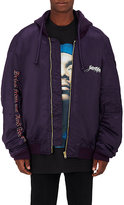 Vetements Men's Embroidered Tech-Twill Bomber Jacket-PURPLE