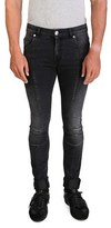 Pierre Balmain Men's Slim Fit Biker Denim Jeans Pants Black.