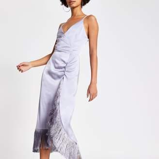 River Island Womens Purple fringe wrap satin slip dress