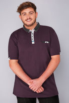 Yours Clothing D555 Burgundy Polo Shirt With Woven Collar