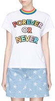Mira Mikati 'FOREVER OR NEVER' slogan glitter appliqué T-shirt