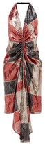 Halpern Geometric Ruched Sequinned Halterneck Dress - Womens - Red Print