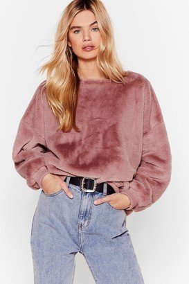 Nasty Gal Womens I'm Here Faux Fur You Relaxed Sweatshirt - Nude